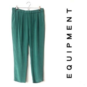 Equipment 100% Silk Green Trouser Pants Pockets